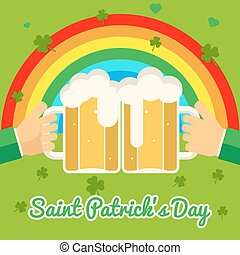 Saint Patrick's Day Celebration Success and Prosperity Symbol Hands Holds Mug of Beer with Foam Icon on Stylish Background Greeting Card Flat Design Vector Illustration