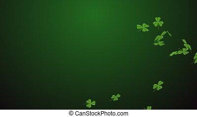 Saint Patrick's Day. Clover leaves over dark green...