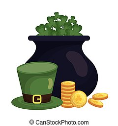 Saint patricks day clovers pot coins and hat vector design