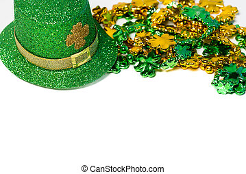 Saint Patricks Day decoration with a hat and beads