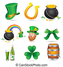 illustration of Saint Patrick's day elements on white background