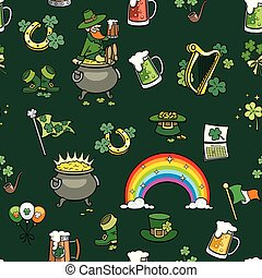 Saint Patricks Day Elements Pattern
