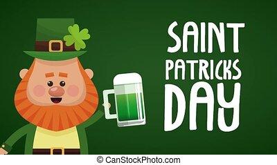 Saint patricks day elf cartoon HD animation - Cute elf with...