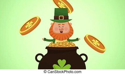 Saint patricks day elf cartoon HD animation - Rich elf...