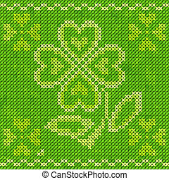 Saint Patrick's day embroidery cross-stitch greeting card.