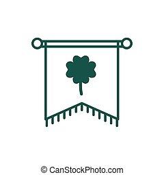 saint patricks day flag with clover leaf line style