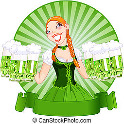 Vector illustration of young female serving a green beer for St. Patrick's Day.