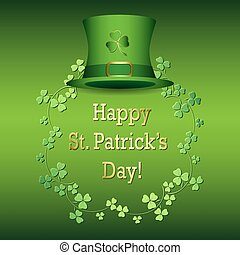 saint patricks day - green vector background with hat
