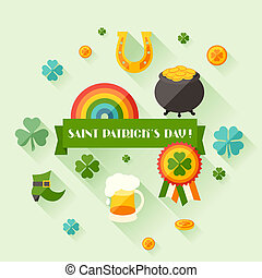 Saint Patrick's Day greeting card in flat design style.