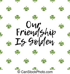 Saint Patricks Day greeting card with sparkled green clover leaves and text