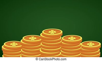 Saint patricks day HD animation - Clover coins stacked over...