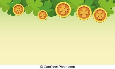 Saint patricks day HD animation - Clovers and coins falling...
