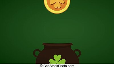 Saint patricks day HD animation - Coin inserted inside pot...