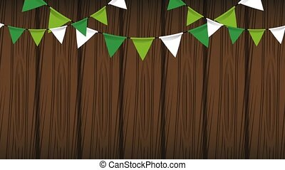 Saint patricks day HD animation - Green and white pennants...
