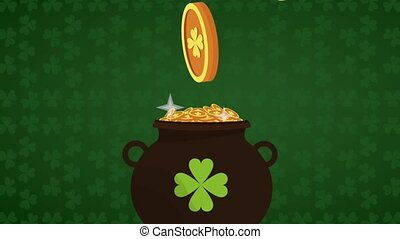 Saint patricks day HD animation - Pot with coins over green...