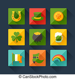 Saint Patrick's Day icons in flat design style.