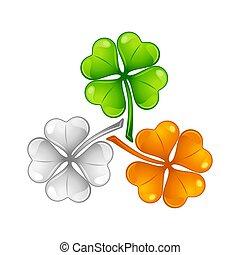 Saint Patricks Day illustration. Irish flag clover. Festive...