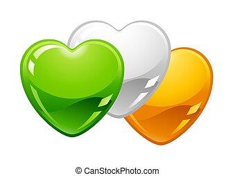Saint Patricks Day illustration. Irish flag hearts. Festive...