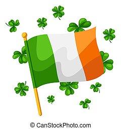 Saint Patricks Day illustration. Irish flag with clover....