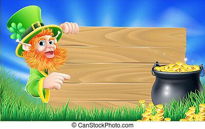 Saint Patricks day leprechaun scene - Cartoon Saint Patricks...