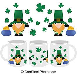 Saint Patrick's Day Mug Template Design and Mockup Set for Print on Demand Drop Shipping