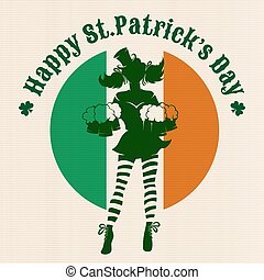 Saint Patricks Day Party Design - Girl with beer silhouette...