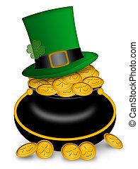Saint Patricks Day Pot of Gold and Hat