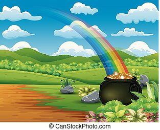 Saint Patrick's Day pot of gold and rainbow on the nature