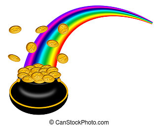 Saint Patricks Day Pot of Gold with Rainbow - Saint Patricks...