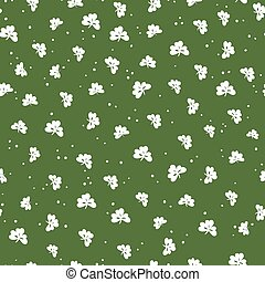 Saint Patrick's Day seamless pattern. Clover leaf and golden dots. Abstract holiday background