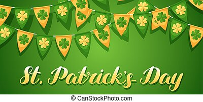 Saint Patricks Day seamless pattern. Garland flags with clover