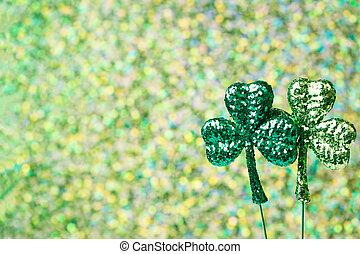 Saint Patricks Day shiny green clovers - Saint Patricks Day...
