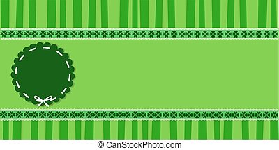 Saint Patrick's Day template with clover lace and round stamp