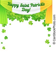 Saint Patricks Day vector curtain with sign and clovers frame isolated on white background
