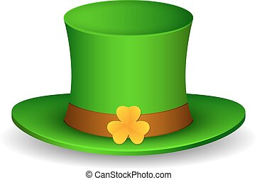 Saint Patrick's hat with clover. Isolated on white background. Vector Illustration, eps 10.