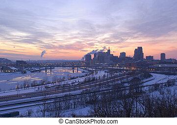 Saint Paul and River at Dusk - Downtown Saint Paul and...