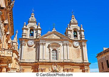 Saint Paul Cathedral in Mdina in Malta