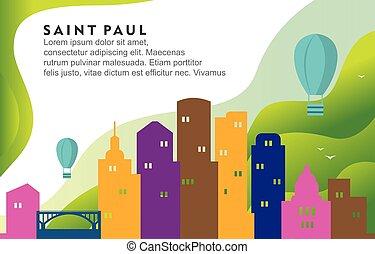 Saint Paul Minnesota City Building Cityscape Skyline Dynamic Background Illustration