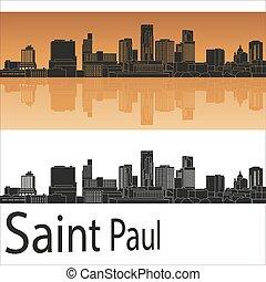 Saint Paul skyline in orange background in editable vector ...