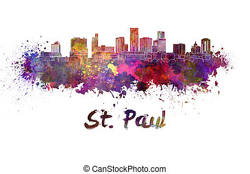 Saint Paul skyline in watercolor splatters with clipping...