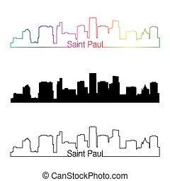 Saint Paul skyline linear style with rainbow in editable...