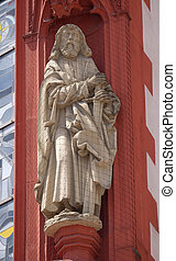 Saint Paul the Apostle statue on the portal of the Marienkapelle in Wurzburg, Bavaria, Germany