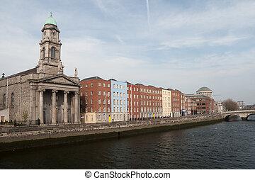 Saint Paul's Church and River Liffey in Dublin