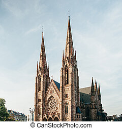 Saint Paul's Church in the evening, Strasbourg, Alsace, France
