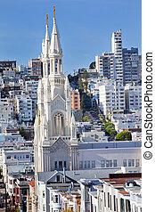 Saint Peter and Paul Catholic Church Steeples Houses San Francisco California