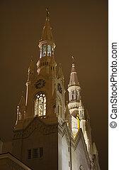 Saint Peter and Paul Catholic Church Steeples at night San Francisco California