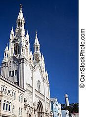 Saint Peter and Paul Catholic Church Steeples Coit Tower Houses San Francisco California