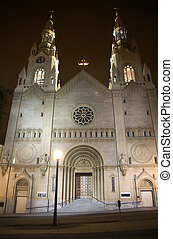 Saint Peter and Paul White Catholic Church Night San Francisco C