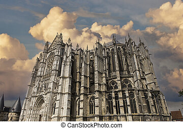 BEAUVAIS, FRANCE, APRIL 15,  2017 : exteriors and details of Saint Peter cathedral, april 15, 2017, in  Beauvais, France