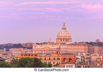 Saint Peter Cathedral at sunset in Rome, Italy.